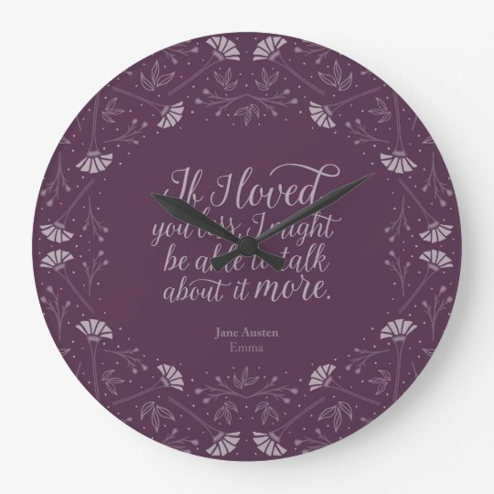 Cita floral púrpura del amor del libro de Jane Reloj Redondo Grande