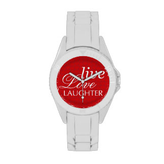 Cita inspirada blanca roja de la risa viva del reloj de mano
