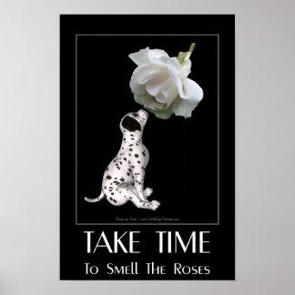 Cita inspirada dálmata del rosa blanco del perrito posters