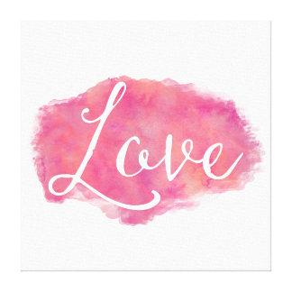Cita inspirada de la acuarela del amor rosado impresiones en lona