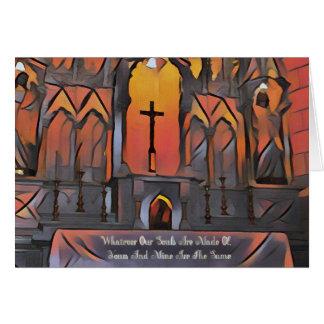 Cita inspirada de la cruz artística del santuario tarjeta de felicitación