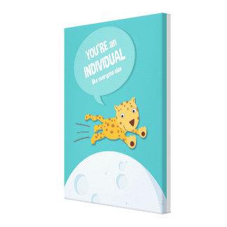 Cita inspirada de los niños del _animal del impresión en lienzo