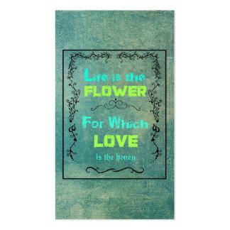Cita inspirada el amor y vida tarjeta de negocio