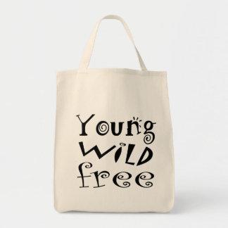 """Cita """"libre"""" salvaje joven de la tipografía bolsa tela para la compra"""