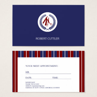 Cita moderna rayada blanca de la marina de guerra tarjeta de visita
