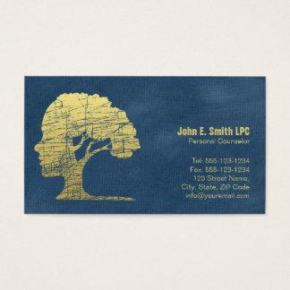 Cita personal del consejero del psicólogo azul tarjeta de negocios