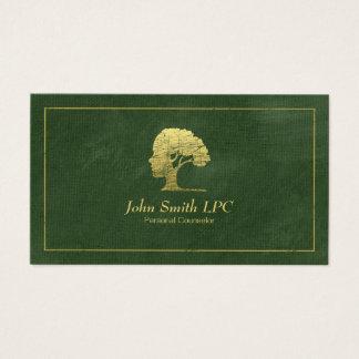 Cita personal del consejero del psicólogo verde tarjeta de negocios