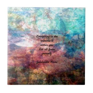 Cita que eleva de Rumi sobre energía y el universo Azulejo De Cerámica
