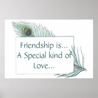 Cita retra de la amistad de la pluma del pavo real póster