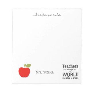 Cita roja de la manzana y su profesor del texto bloc de notas