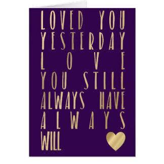 Cita romántica del oro de la tarjeta metálica del tarjeta de felicitación