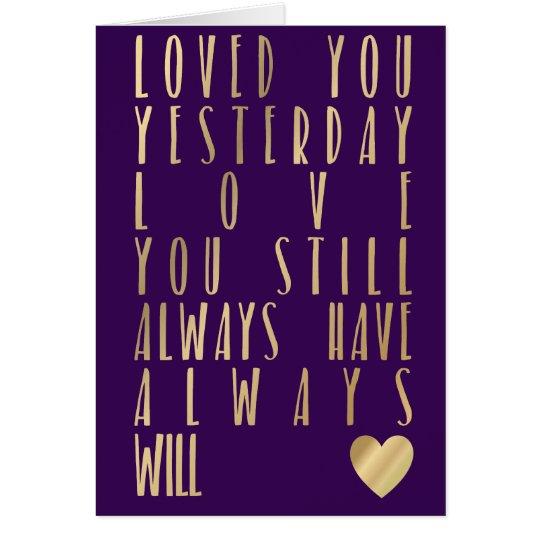 Cita romántica del oro de la tarjeta metálica del