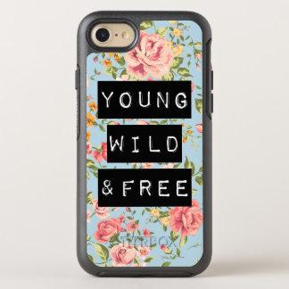 Cita salvaje y libre joven floral color de rosa de funda OtterBox symmetry para iPhone 7