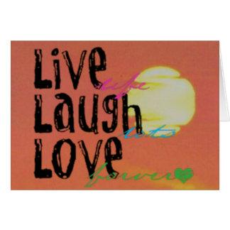 Cita viva del amor de la risa de la sol positiva tarjeta de felicitación