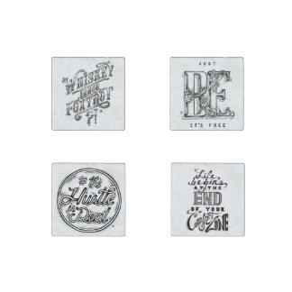 Citas blancos y negros dibujadas mano del vintage imán de piedra