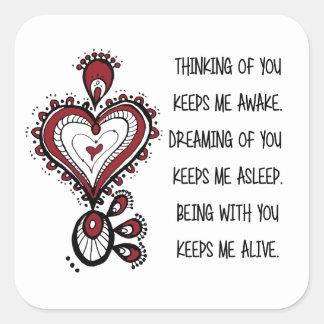 Citas del amor del el día de San Valentín Pegatina Cuadrada