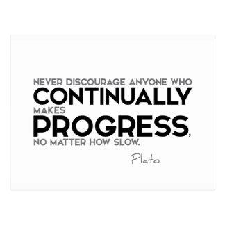 CITAS: Platón: Hace continuamente progreso Postal