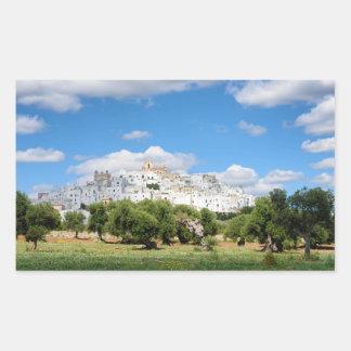 Ciudad blanca Ostuni, pegatina rectangular de