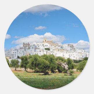 Ciudad blanca Ostuni, pegatina redondo de Puglia