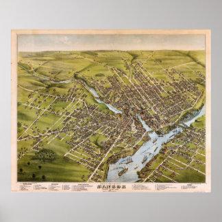 Ciudad de Bangor el condado de Penobscot Maine Póster