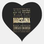 Ciudad de Barcelona del arte de la tipografía de Pegatina En Forma De Corazón
