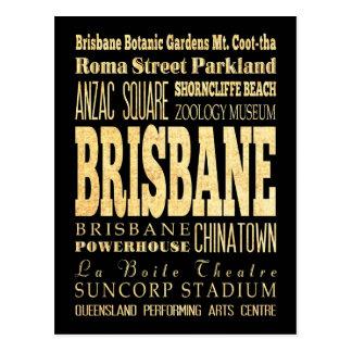 Ciudad de Brisbane del arte de la tipografía de Postal