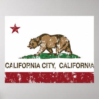 ciudad de California de la bandera de California a Poster