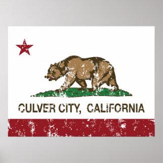 Ciudad de Culver de la bandera del estado de Calif Póster