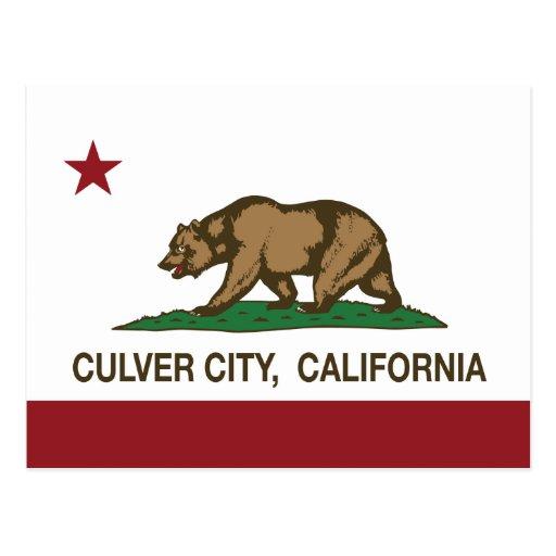 Ciudad de Culver de la bandera del estado de Calif Tarjetas Postales