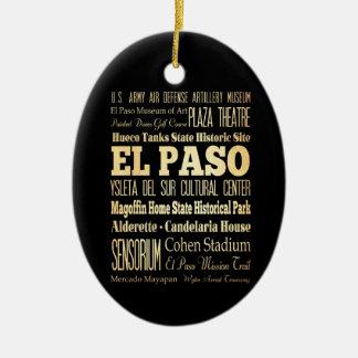 Ciudad de El Paso del arte de la tipografía del Adorno Ovalado De Cerámica