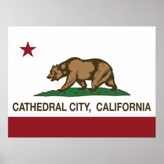 Ciudad de la catedral de la bandera del estado de  posters