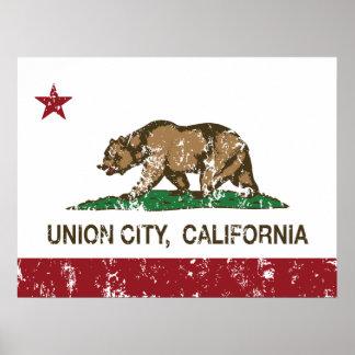 Ciudad de la unión de la bandera del estado de Cal Posters