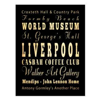 Ciudad de Liverpool del arte de la tipografía de Postal