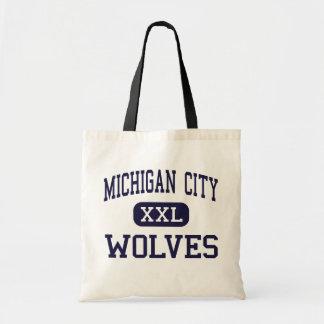 Ciudad de Michigan - lobos - joven - ciudad de Mic Bolsa Tela Barata