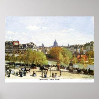 Ciudad de París de Claude Monet Póster