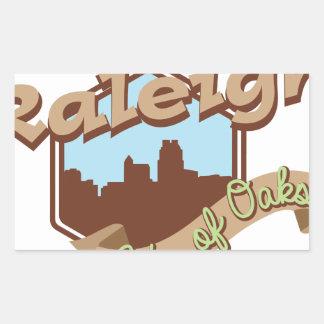 Ciudad de Raleigh de robles Pegatina Rectangular