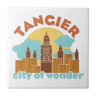 Ciudad de Tánger de la maravilla Azulejo Cuadrado Pequeño