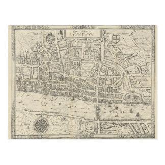 Ciudad del mapa del vintage de la postal de