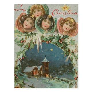 Ciudad del navidad del vintage con los niños postal