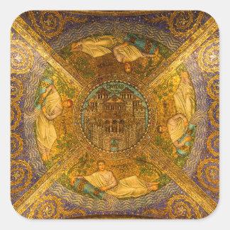 Ciudad del techo de catedral bizantino neo del pegatina cuadrada
