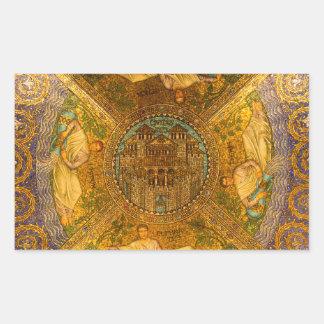 Ciudad del techo de catedral bizantino neo del pegatina rectangular