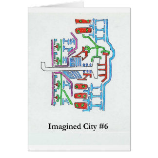 Ciudad imaginada #6 tarjeta de felicitación