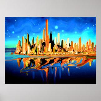 Ciudad mágica América - impresión del arte de la