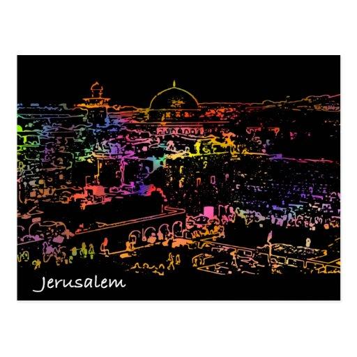 Ciudad vieja Jerusalén de la visión panorámica Postales