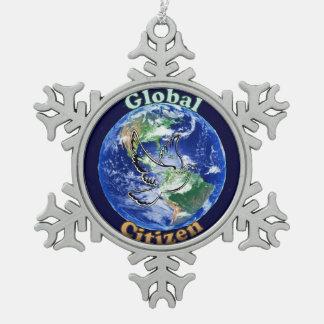 Ciudadano global, ornamento adorno de peltre en forma de copo de nieve