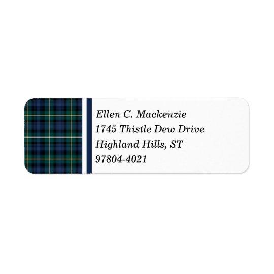 Clan Campbell del tartán del escocés de los azules Etiqueta De Remitente