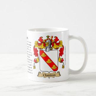 Clanton, el origen, el significado y el escudo taza de café