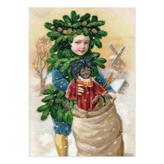 Clapsaddle: Muchacho del abeto con la muñeca Tarjetas De Visita Grandes