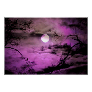Claro de luna de color morado oscuro póster