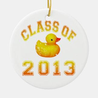 Clase 2013 del caucho Duckie - amarillo/naranja Adorno Redondo De Cerámica